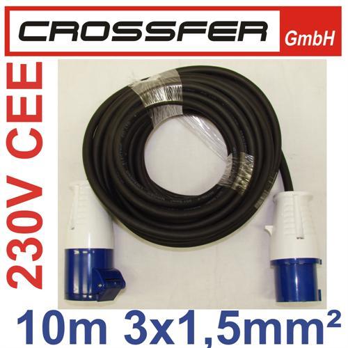 CEE 230V CAMPING-Kabel GERADE Stecker/Kupplung